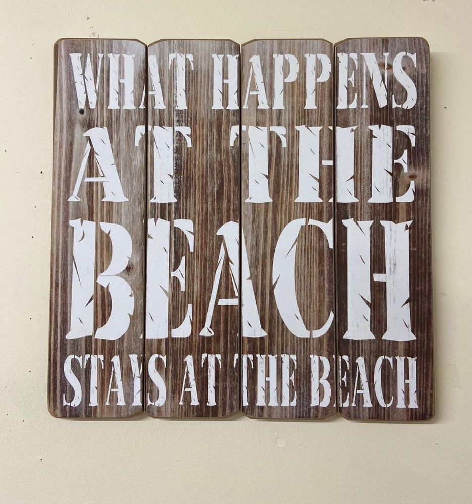 Brown What Happens At The Beach 40cm Wooden Quote Wall Art